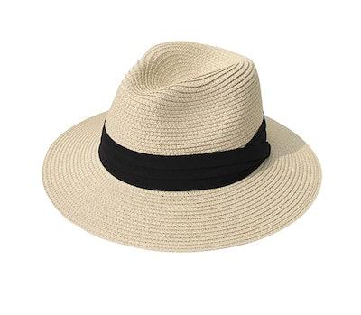 Lanzom Wide Brim Straw Roll up Hat