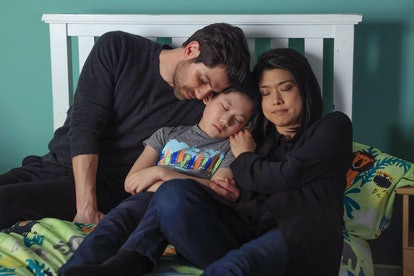 'A Million Little Things' featuring Theo, Eddie and Katherine cuddling in bed