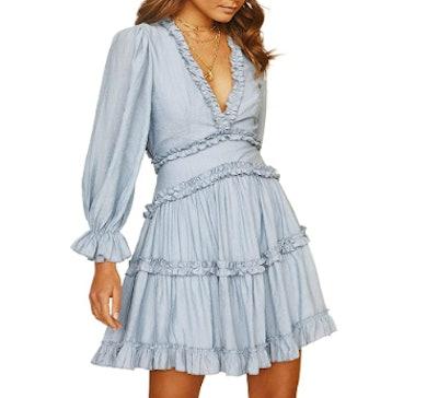 Dokotoo Deep V Neck Ruffle Mini Dress