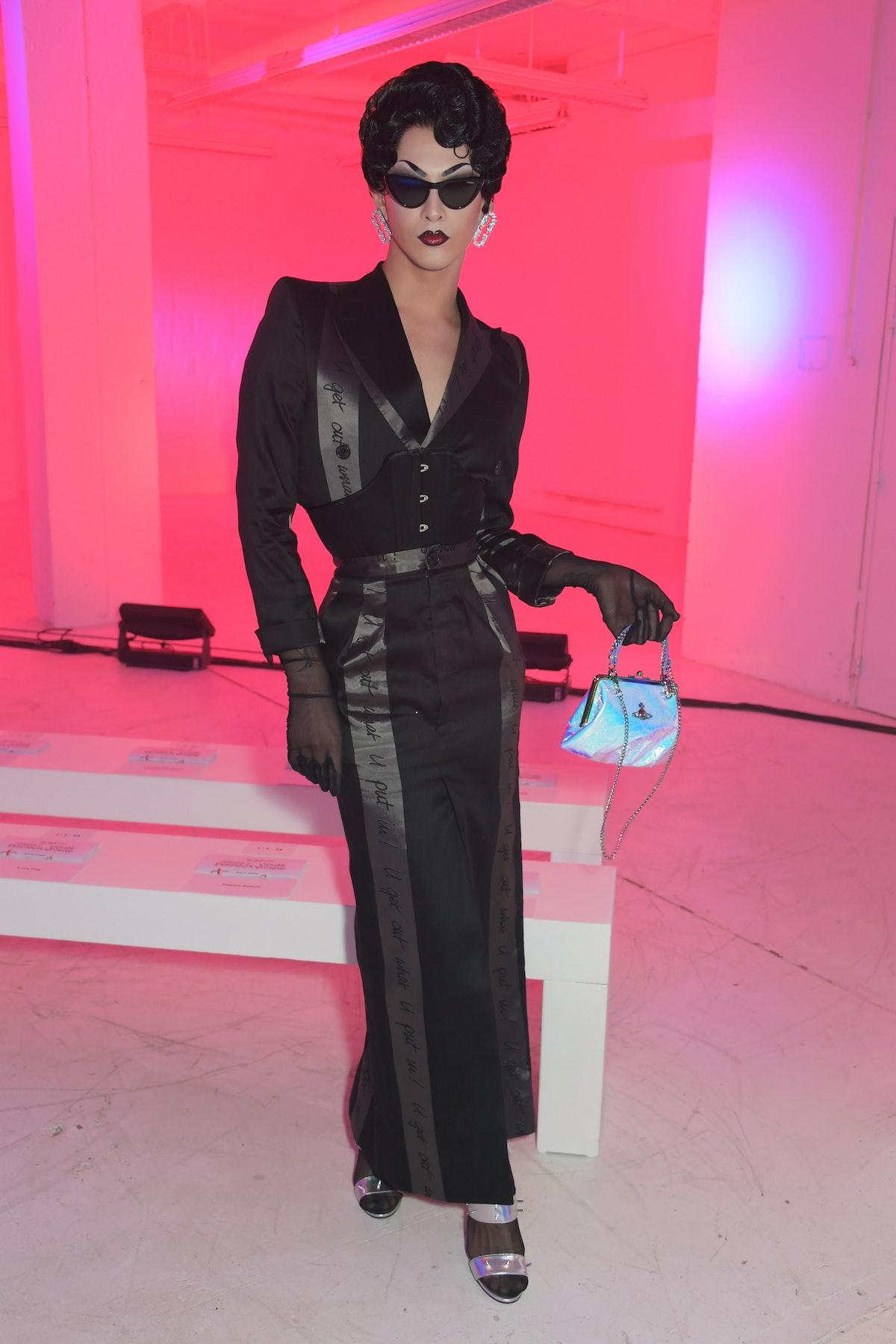 Violet Chachki in all black.