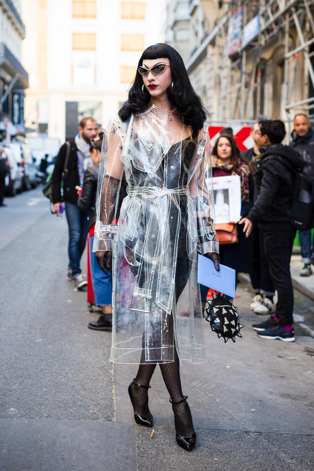 Violet Chachki in vinyl coat.