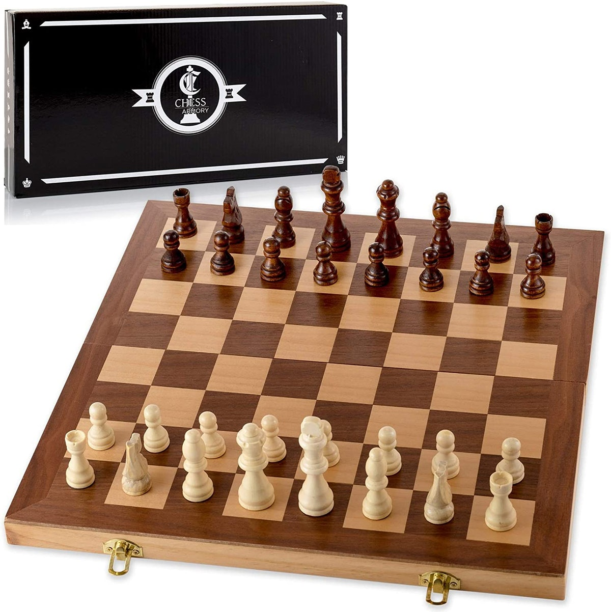 Chess Armory 15-Inch Wooden Chess Set with Felted Game Board Interior for Storage
