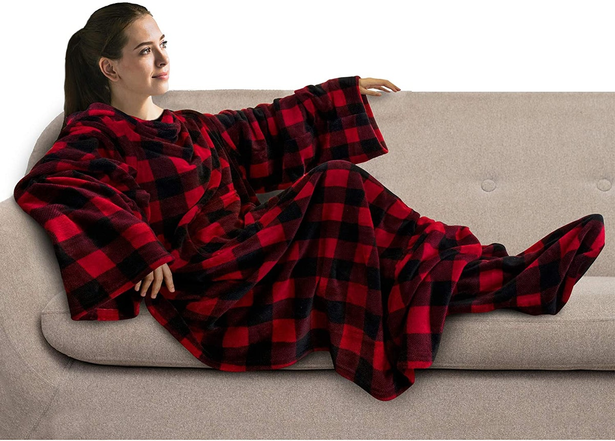 PAVILIA Fleece Blanket with Sleeves and Foot Pockets