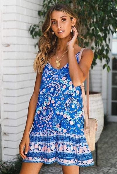Qearal Sleeveless Floral Print Mini Dress with Pockets