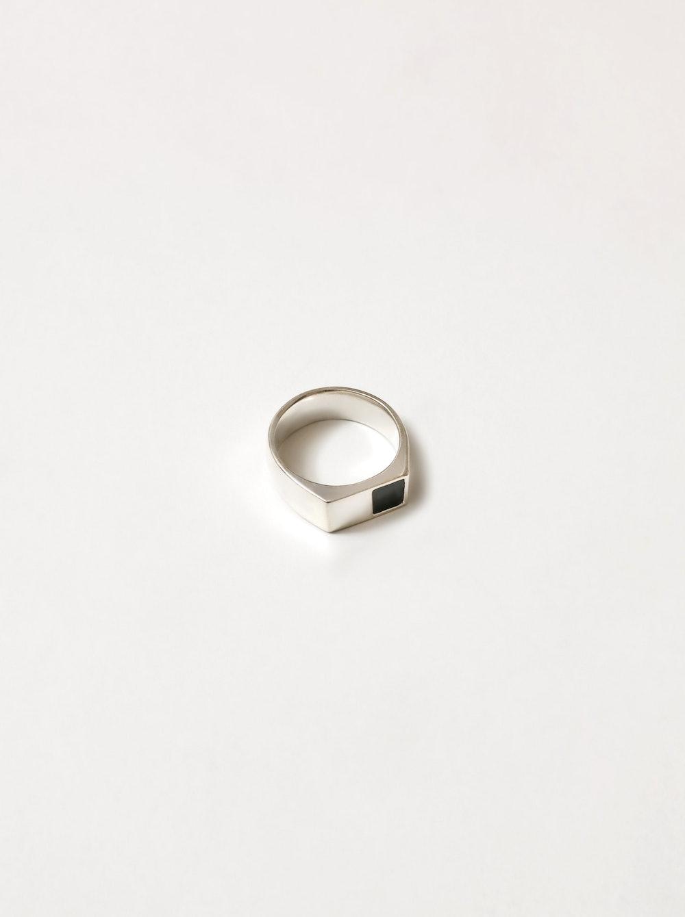 Corner Stone Ring in Sterling Silver
