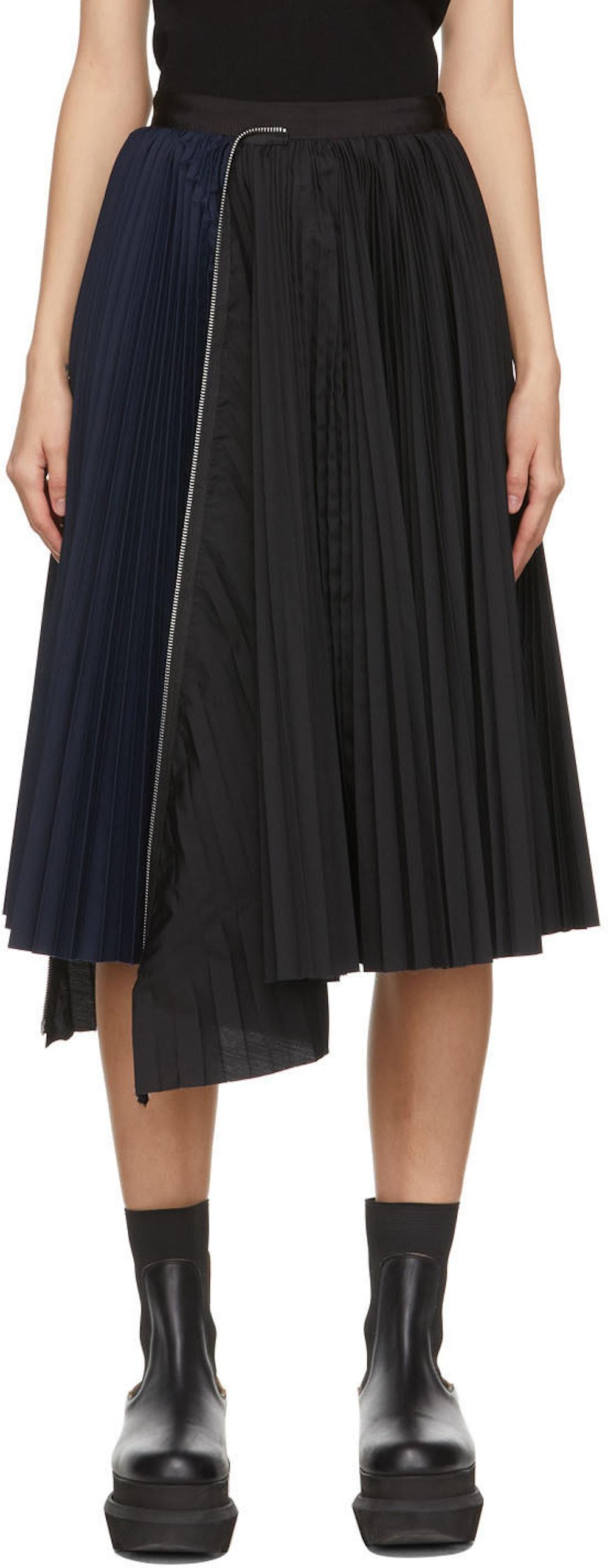 Black & Navy Zip Pleated Skirt