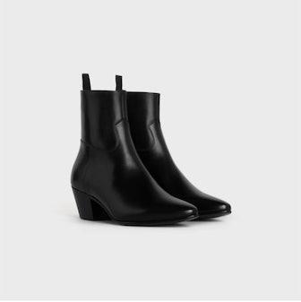 Celine Jacno Zipped Boot In Shiny Calfskin Black