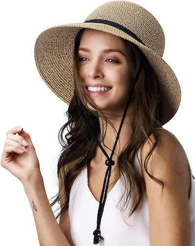FURTALK Wide Brim Sun Hat with Wind Lanyard