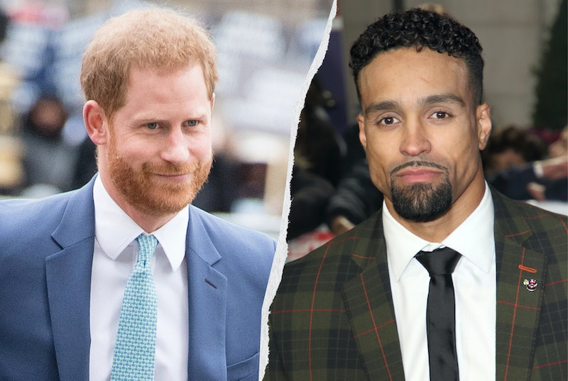 Prince Harry wearing a blue suit and tie, Ashley Banjo wearing a checked suit and black tie