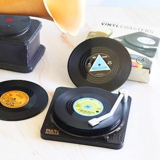 DuoMuo Retro Vinyl Drink Coasters (Set of 6)