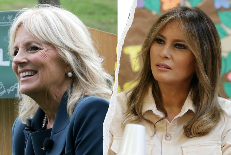 Ahead of the G7 Summit, Jill Biden wore a Zadig & Voltaire 'Love' jacket, which Twitter thinks is a dig at Melania Trump's 'I Don't Really Care, Do U?' jacket.