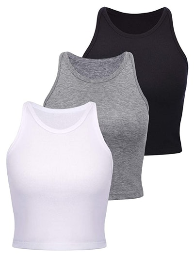 Boao Basic Racerback Crop Tops (3-Pack)