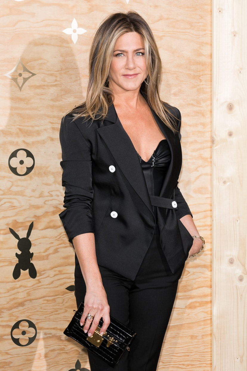 Jennifer Aniston attends the Louis Vuitton Masters: a collaboration with Jeff Koons dinner at Musee du Louvre on April 11, 2017 in Paris, France.