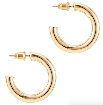 PAVOI 14K Gold Colored Chunky Open Hoops