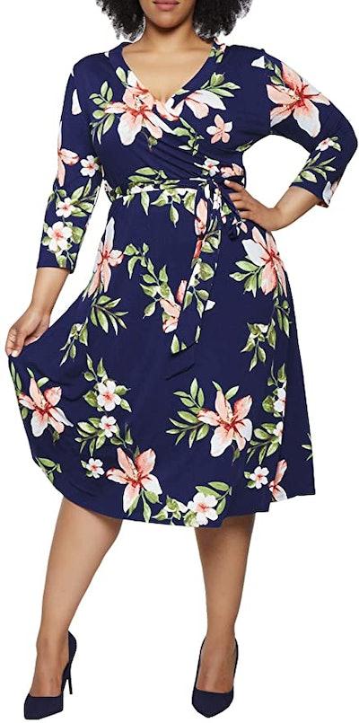 Pink Queen Plus Size 3/4 Sleeve Floral Faux Wrap Dress