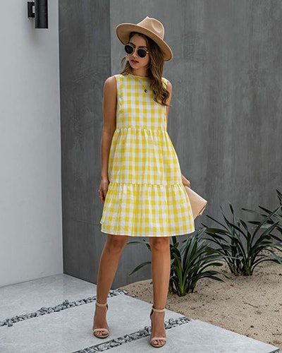 ECOWISH Sleeveless Tiered Plaid Dress