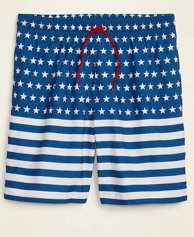 Printed Swim Trunks in Blue & White American Flag