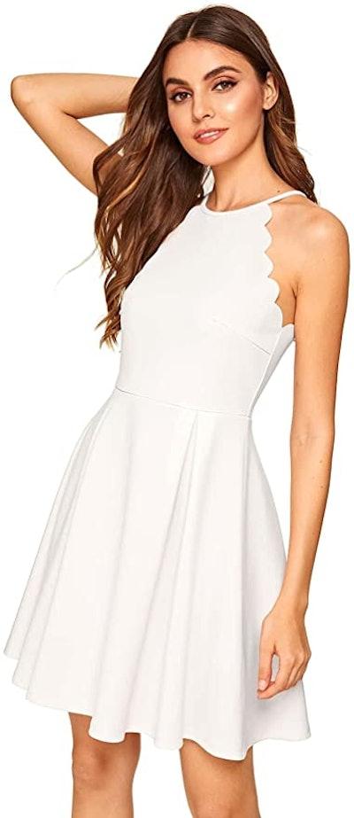Romwe Scallop Trim Pleated A-Line Dress