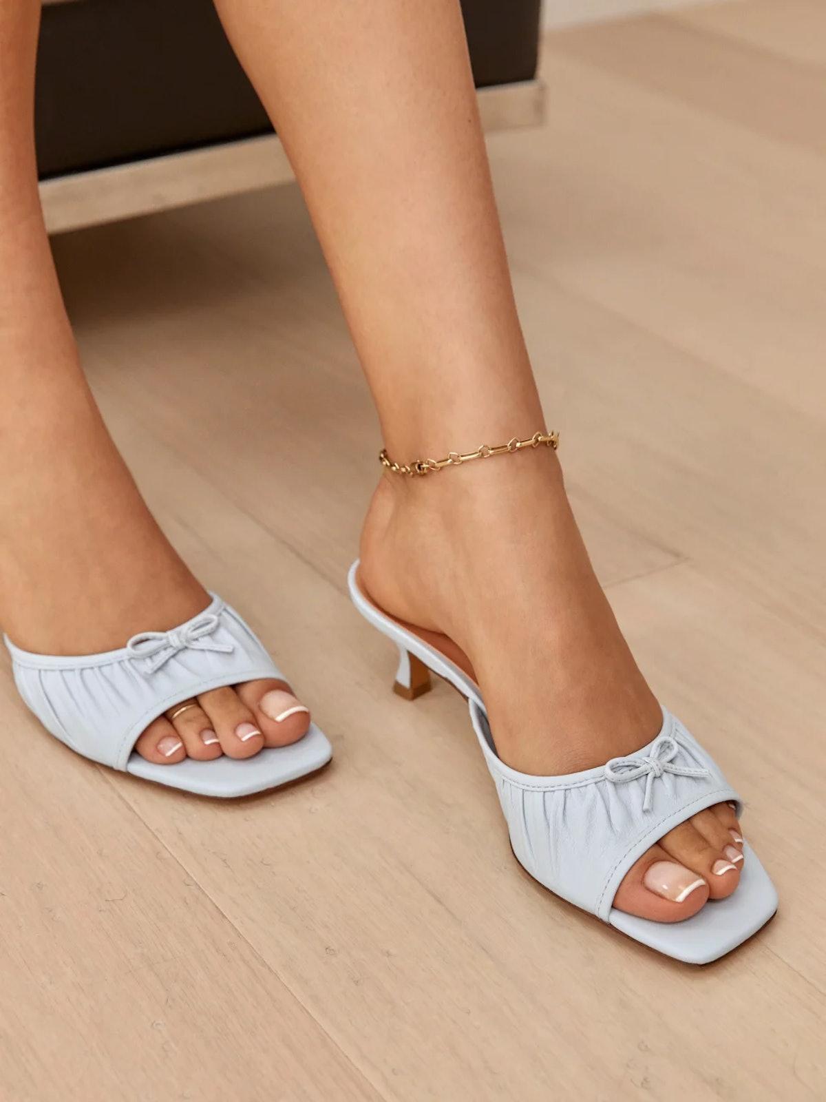 Simone Gathered Kitten Heel Sandal