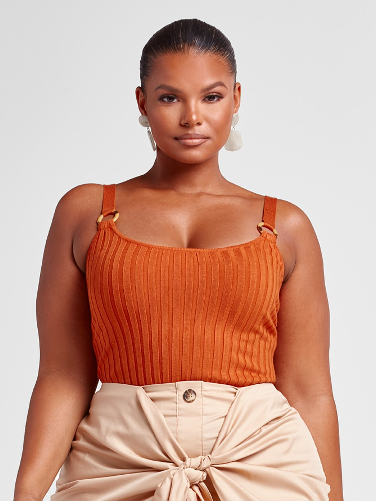 Melanie Rib Knit Tank with O-Ring Straps in Rust