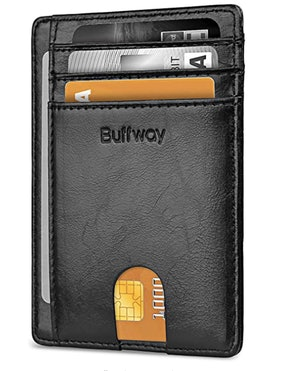 Buffway Slim Front Pocket Leather Wallet