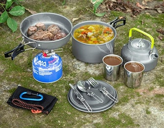 Odoland Camping Cookware Mess Kit (10 pieces)