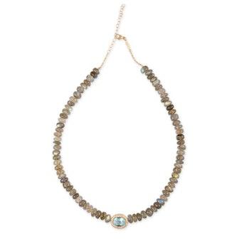 Pave Aquamarine Beaded Necklace