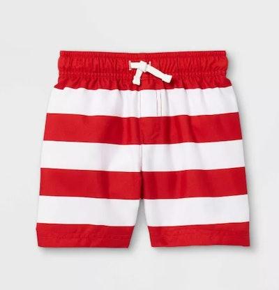 Cat & Jack Toddler Boys' Striped Swim Trunks in Red/White