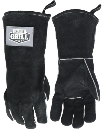 """Expert Grill 14"""" Insulated Leather BBQ Gloves, Black"""