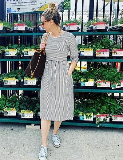 MEROKEETY 3/4 Sleeve Midi Dress With Pockets