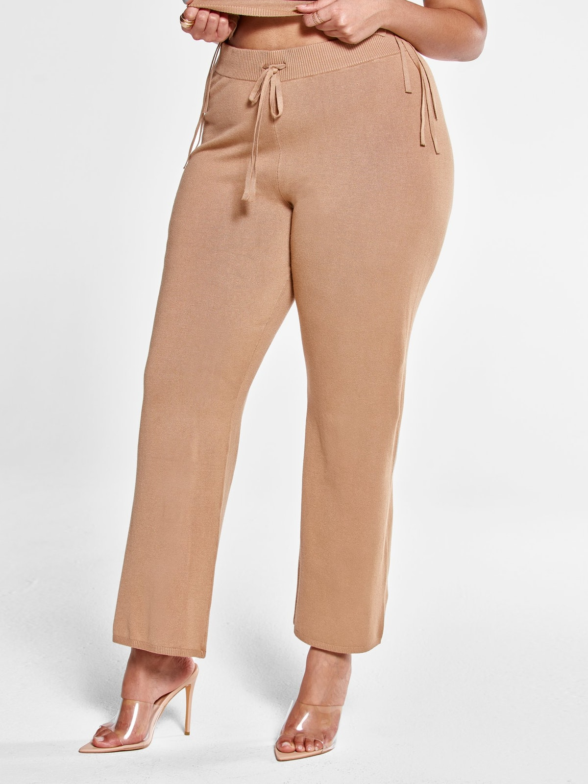 Deana Drawstring Knit Pants in Tan