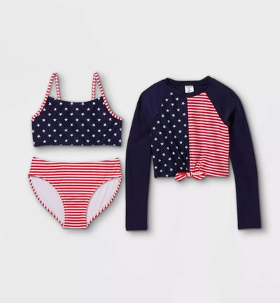Art Class Stars and Striped Bikini 3-Piece Set