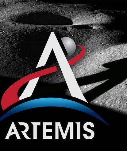 NASA Artemis astronaut on Moon logo