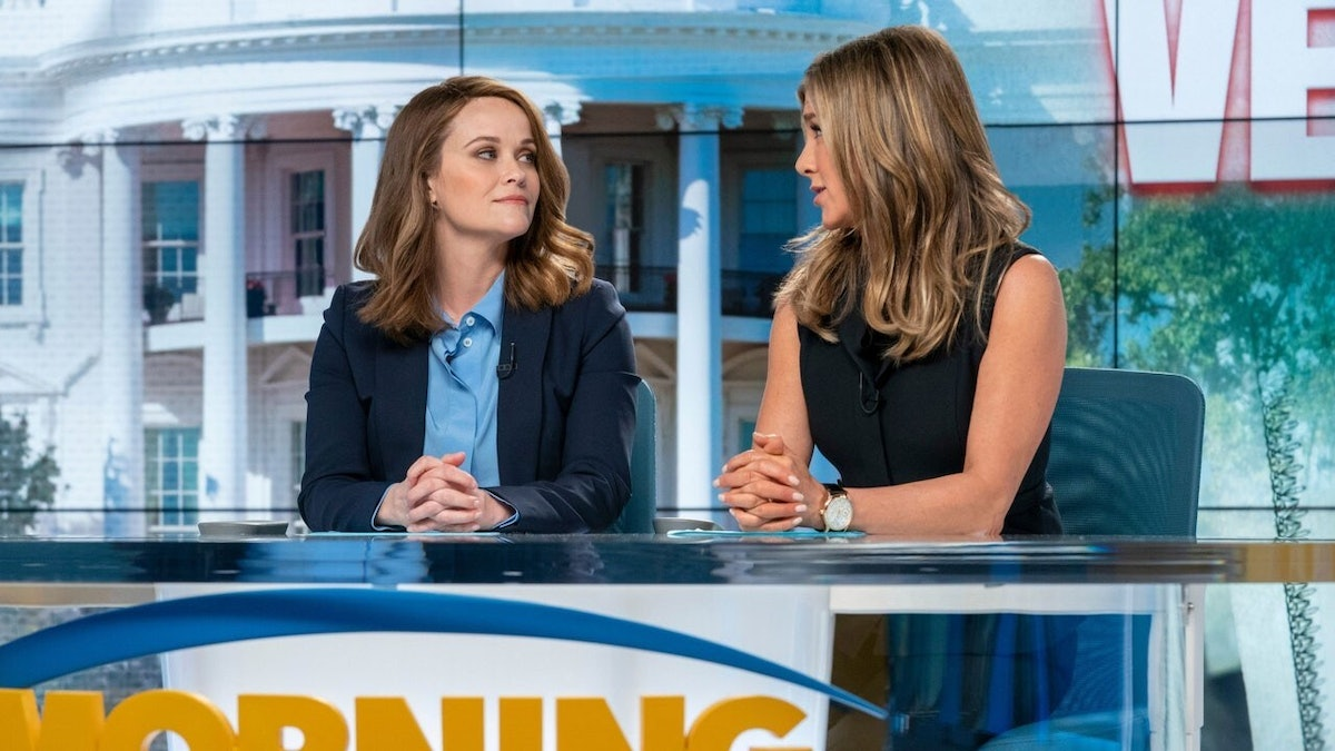Jennifer Aniston as Alex Levy and Reese Witherspoon as Bradley Jackson in 'The Morning Show'