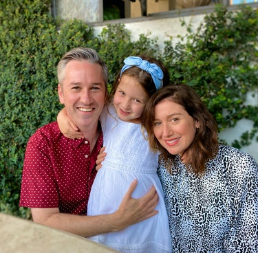 Actor Andrew Burlinson with his wife and young daughter.
