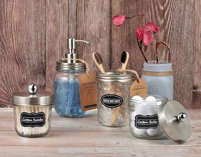 Mason Jar Bathroom Accessories Set (4 Pack)