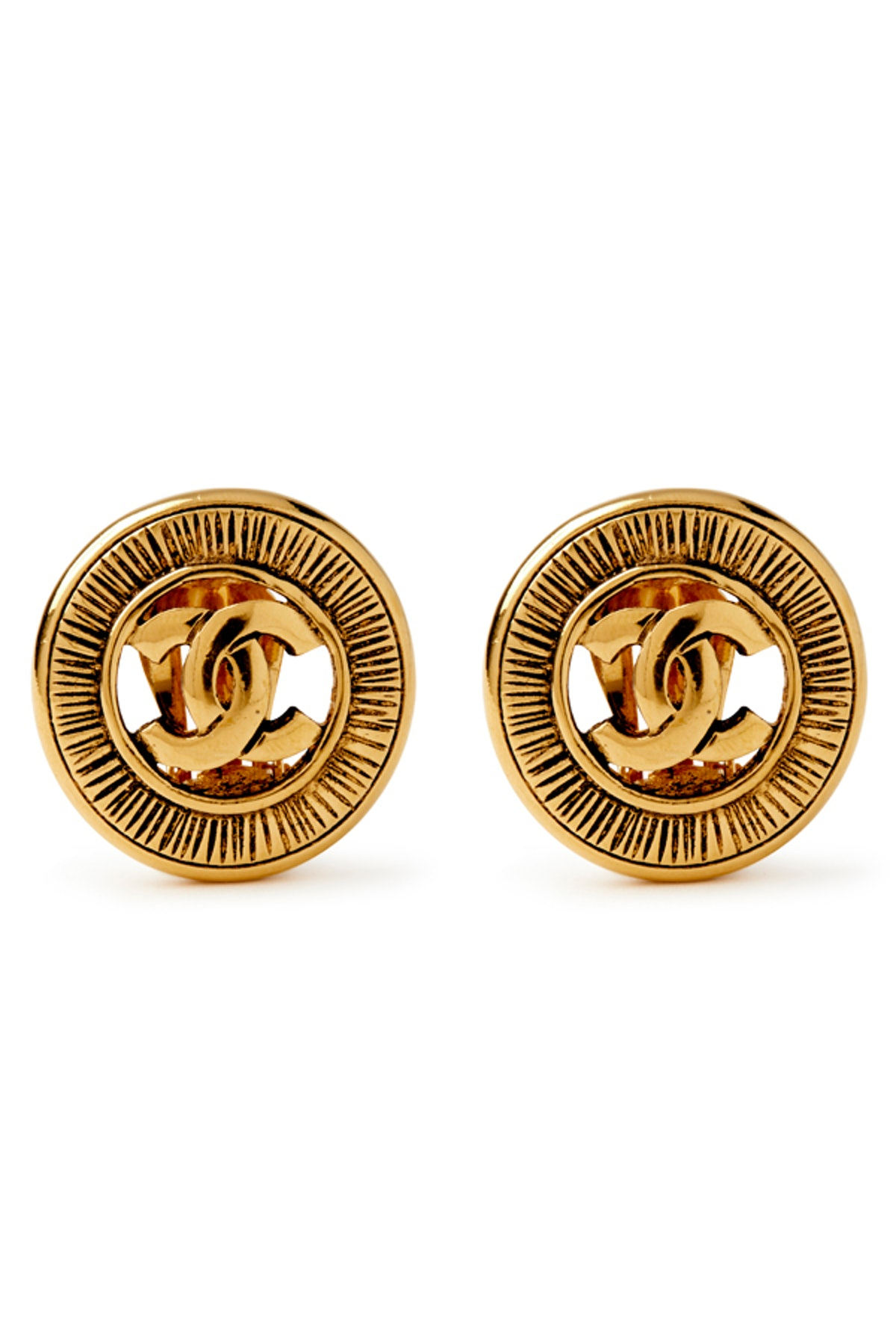Medium Embossed CC Logo Cut Out Clip On Earrings
