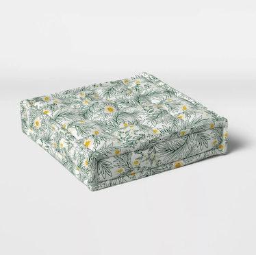  Spring Floral Outdoor Floor Cushion DuraSeason Fabric Green