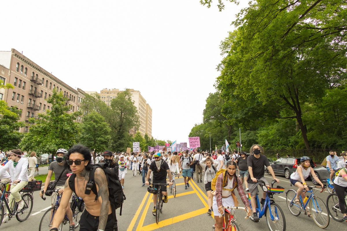 The scene at Brooklyn Liberation: An Action For Trans Youth on June 13, 2021
