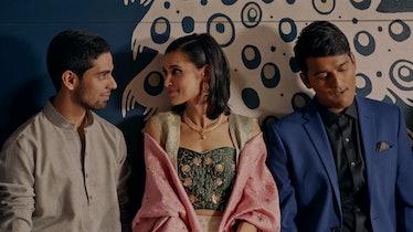 "Sophia Ali ""Alia"" (middle), Rish Shah ""Varun"" (left) and Ved Sapru ""Rahul"" (right)"