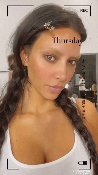 Kim Kardashian with bleached eyebrows