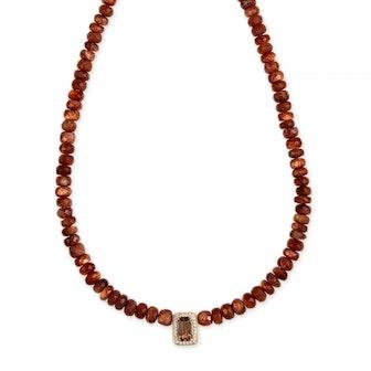 Pave Sunstone Beaded Necklace