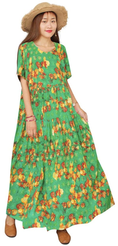 YESNO Casual Loose Floral Dress