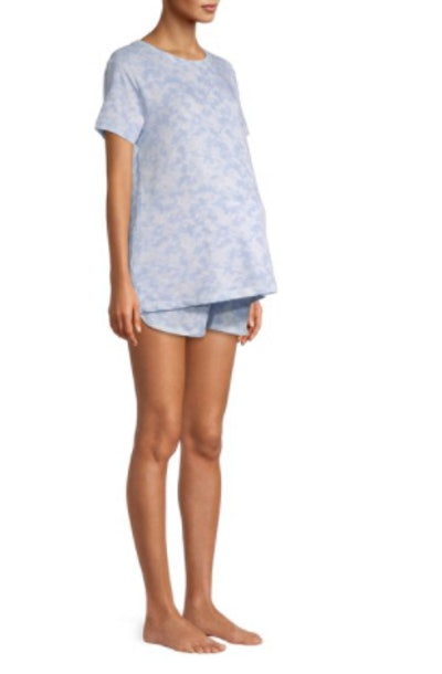 Maternity Crewneck T-Shirt and Boxer Sleep Set