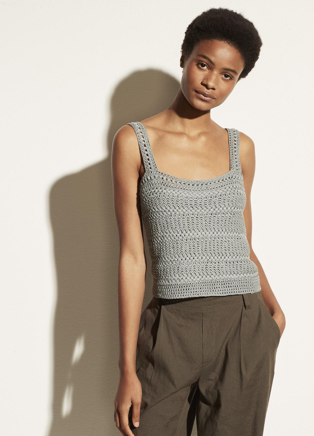 Crochet Camisole in New Steel Blue