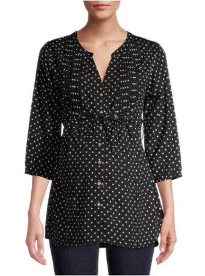 Maternity Pleated Blouse with Tie Belt