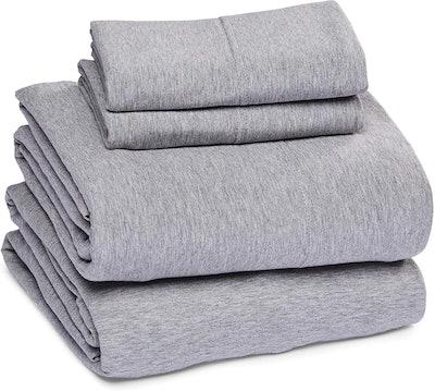 Amazon Basics Heather Cotton Jersey Bed Sheet Set (Queen)