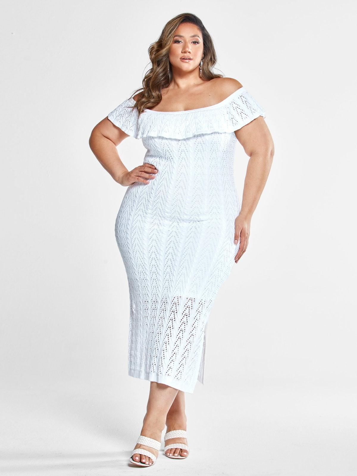 Georgina Off The Shoulder Crochet Dress With Slit in White
