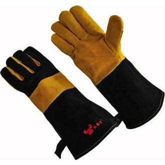 """G&F Suede Leather Palm BBQ Gloves With 14.5"""" Sleeve"""