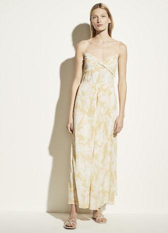 Wheat Twist Knot Drape Dress in Balm